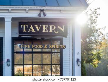 Brattleboro, VT, USA - October 18 2017: A tavern in Brattleboro, Vermont.