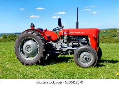 Bratton, Wiltshire, UK - April 22, 2017: A vintage Massey Ferguson 35 tractor