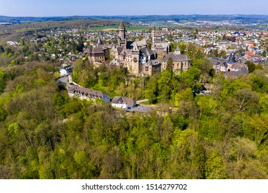 Braunfels Castle, with Hubertus Tower, New Keep, Georgen Tower and Alter Stock, Braunfels, Hesse, Germany,