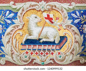 Braunschweig, Germany - April 5, 2011: Lamb of God (Agnus Dei) mosaic in the Martini church in Braunschweig, Niedersachsen, Germany.