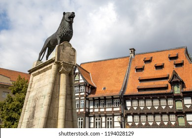 Braunschweig, Germany - August 23, 2014: The Brunswick Lion Monument on Burgplatz Square