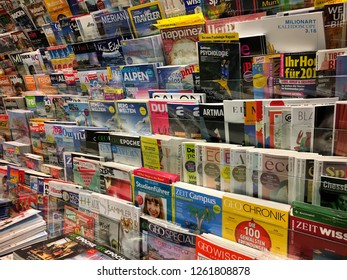 Braunschweig, Germany - December 12, 2018: Rows of German magazines selling in bookstore. Education concept.