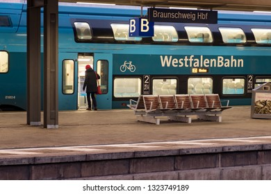 Braunschweig, Germany - December 12, 2018 : A WestfalenBahn, railway Germany company, Train parking on platform at Braunschweig Hauptbahnhof station for waiting passengers.