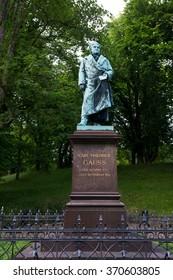 BRAUNSCHWEIG, GERMANY - JUNE 06, 2015: Statue of Johann Carl Friedrich Gauss famous mathematician in Braunschweig, Germany on June 06, 2015