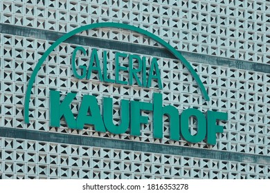 Braunschweig, Germany, June 20., 2020: Facade of the Galeria Kaufhof department store with the lettering of the department store chain in difficulty