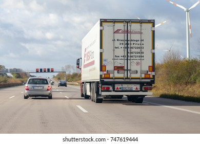 BRAUNSCHWEIG / GERMANY - OCTOBER 29, 2017: truck from polish forwarder Omega Pilzno drives on  german motorway A2.