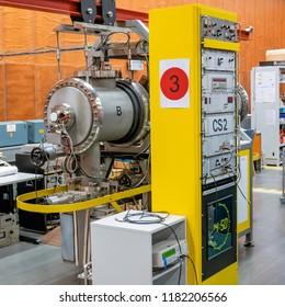 Braunschweig, Germany, September 8., 2018: Atomic clock CS-3 based on caesium in the PTB laboratory, accuracy 1 second in 2 million years