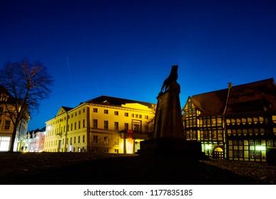 Braunschweig lion at night historic