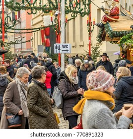 Braunschweig, Lower Saxony, Germany, December 7th 2017: crowds at the Christmas market of Braunschweig