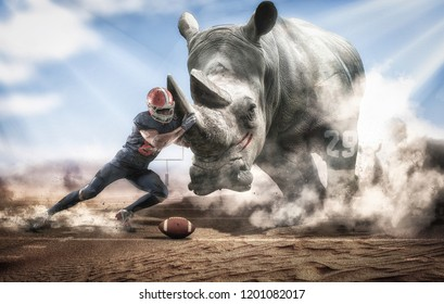 Brave American football player facing a big rhino
