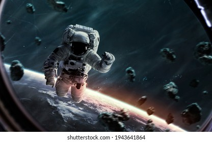 Brave astronaut in open space, science fiction render. This image elements furnished by NASA