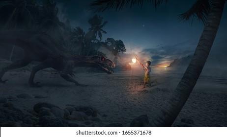 Ein tapferer Held (Kind), der eine Axt Licht hält und ein schreckliches und großes Monster (Dinosaurier) auf einer Insel bei Sonnenuntergang bekämpft - Konzept von Gott, Fantasie, Licht gegen Dunkelheit.
