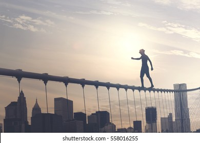 brave boy walking on a wire above the metropolis, conceptual image