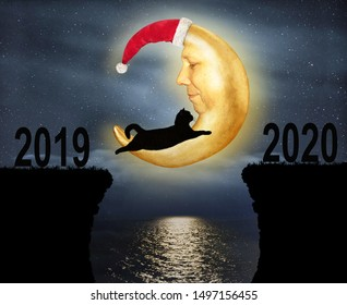 The brave cat jumps over the rocks in the strait at night against the background of the moon wearing a Santa Claus red hat ( from 2019 to 2020 ).