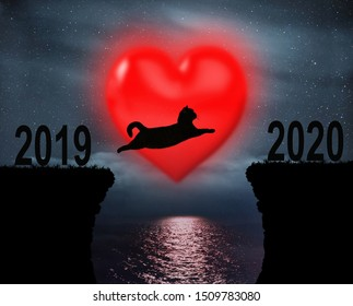 The brave cat jumps over the rocks in the strait at night against the background of the big red heart ( from 2019 to 2020 ).