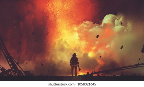 brave firefighter with axe standing in front of frightening explosion, digital art style, illustration painting