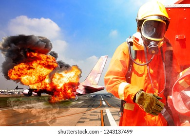 Brave Firefighter during prepare battle fire on aircraft crashing with exploding engine on fire