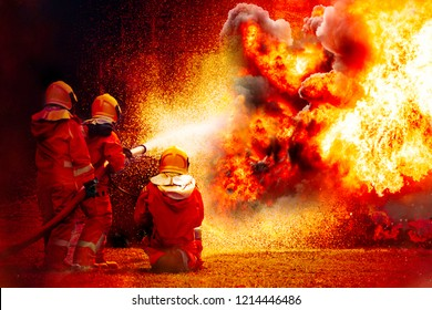 Brave Firefighters during battle and explosion of fire bomb