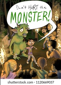 A brave girl stands in between a monster and an angry mob of kids with torches.