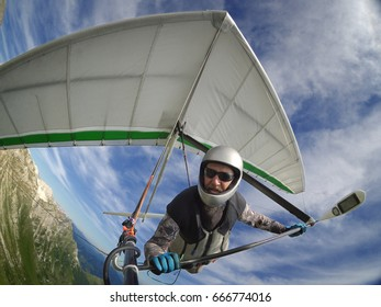 Brave hangglider pilot selfie shot taken with wide angle action camera