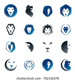 Brave Lion King faces emblems elements set. Heraldic Coat of Arms decorative logos isolated illustrations collection.