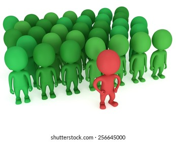 Brave red leader before a crowd before a green crowd. Isolated on white 3d render. Leader, out of crowd concept.
