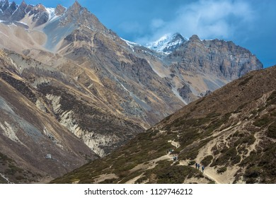 Brave tourists in the beautiful Himalayan mountains on a spring day, Nepal.