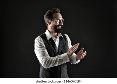 Bravo applause. Man well groomed elegant formal suit clap hands approving something black background. Businessman excited about business project applause. Loud applause to genius business speaker.