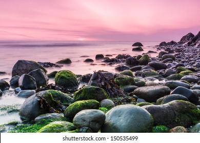 Bray Head and the Irish Sea at sunrise in County Wicklow Ireland