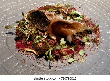 BRAY, UNITED KINGDOM – FEBRUARY 15 2017: Celebrity chef Heston Blumenthal's The Fat Duck restaurant in Bray serves 'forest floor' as part of its three-Michelin-starred food journey degustation.