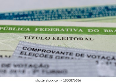 Brazil - 10 October 2020: Electoral title and ballot papers. collective focus. elections 2020