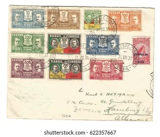 Brazil 1931. Postal cover sent to Hamburg, Germany via Zeppelin Post.