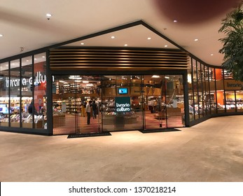 Brasília, Brazil, April 14, 2019: A large modern design bookstore, inside the mall in Brasília, its steel and glass structure, with a wooden façade design, and excellent lighting.