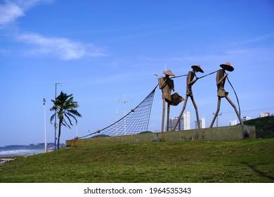 São Luís, Maranhão, Brazil. April 5th, 2021. Monumento To Fishermen is a set of sculptures located on Avenida Litoranea in São Luís. It is a work of Cordeiro do Maranhão inaugurated in 2013.
