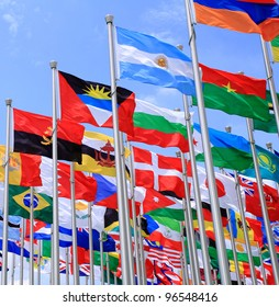 Brazil Argentina and world flags is flying