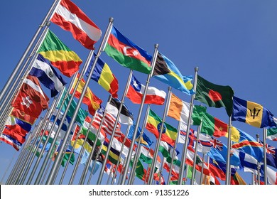 Brazil Argentina and world national flags is flying