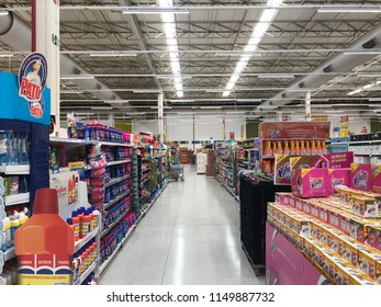 Brasília, Brazil - August 5, 2018: corridor with products in a supermarket, among them, cleaning supplies, groceries, groceries, groceries, butchers and fishmongers.