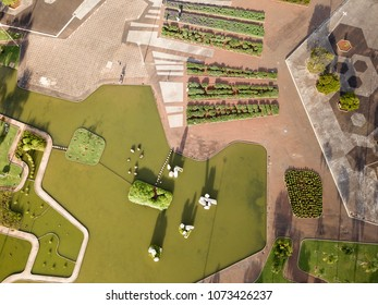 BRAZIL, BRASILIA April 10, 2018, Cristais Square by Burle Marx, Aerial View
