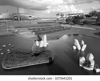 BRAZIL, BRASILIA April 10, 2018, Brazilian Army Headquarters by Oscar Niemeyer and Cristais Square by Burle Marx, Black and White, Aerial View