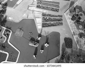 BRAZIL, BRASILIA April 10, 2018, Cristais Square by Burle Marx, Black and White, Aerial View