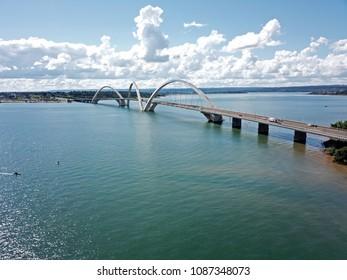 BRAZIL, BRASILIA APRIL 29, 2018 Juscelino Kubitschek Bridge, Aerial View