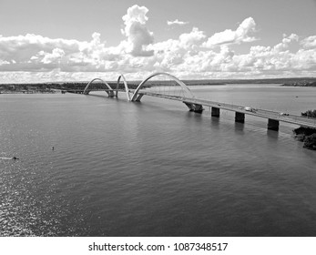 BRAZIL, BRASILIA APRIL 29, 2018 Juscelino Kubitschek Bridge, Aerial View, Black and White