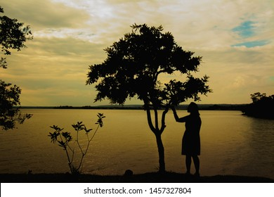 BRAZIL, BRASILIA, Circa October 2017, Paranoa Lake. Natural silhouette on the lakeside.