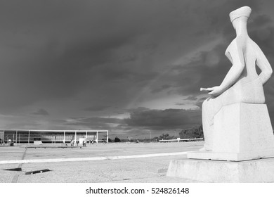 BRAZIL, BRASILIA November 27, 2016. Sculpture The Justice by Alfredo Ceschiatti at Brazilian Federal Court of Justice and Planalto Palace, Black and White
