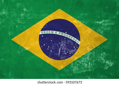 Brazil - Brazilian Flag on Old Grunge Texture Background