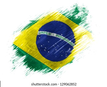 Brazil. Brazilian flag  painted with brush on white background