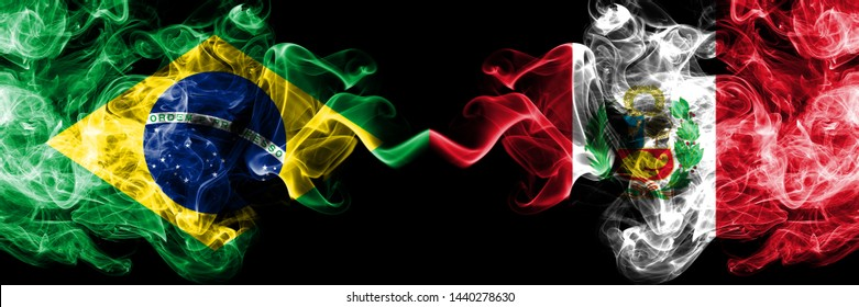 Brazil, Brazilian, Peru, Peruan, black, competition thick colorful smoky flags. America football final stage match games