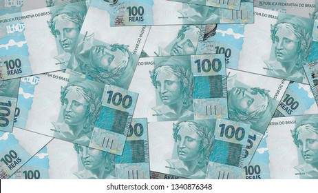 Brazil BRL banknote as background wallpaper using100 Real one Hundred Reais