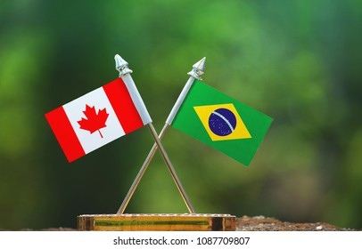 Brazil and Canada small flag with blur green background