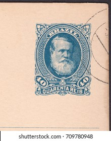 BRAZIL - CIRCA 1877: stamp printed by Brazil shows Emperor Dom Pedro II from Braginskii dynasty on old postal card,circa 1877
